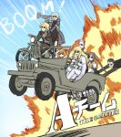 2girls 5boys akuta_hinako beryl_gut black_hair blonde_hair book brown_hair daybit_sem_void driving engiyoshi explosion fate/grand_order fate_(series) grey_hair ground_vehicle highres jeep kadoc_zemlupus kirschtaria_wodime motor_vehicle motorcycle multiple_boys multiple_girls namesake ophelia_phamrsolone pink_hair rocket_launcher scandinavia_peperoncino sunglasses the_a-team weapon