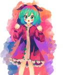 1girl :d animal_ears blush child clenched_hands commentary_request cowboy_shot dog_ears ears ears_down eyebrows_visible_through_hair hands_up kasodani_kyouko long_sleeves looking_at_viewer multicolored multicolored_background multicolored_hair open_mouth puffy_long_sleeves puffy_sleeves puroshimin short_hair smile touhou