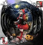 1girl absurdres arknights dagger full_moon highres jack-o'-lantern lantern little_red_riding_hood little_red_riding_hood_(grimm) moon night projekt_red_(arknights) red_footwear red_hood solo solo_focus tombstone tree vyragami weapon white_hair withered