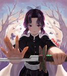 1girl absurdres artist_name backlighting bangs bare_tree belt belt_buckle black_jacket blush buckle bug butterfly cape closed_mouth cowboy_shot highres holding holding_sword holding_weapon insect jacket kimetsu_no_yaiba kochou_shinobu long_sleeves looking_at_viewer outstretched_arms palms parted_bangs purple_hair red_lips short_hair sidelocks smile solo striped sword team_moka tree vertical_stripes violet_eyes weapon white_cape