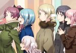 6+girls :d :o ^_^ age_difference akemi_homura alternate_costume arm_at_side black_coat black_hair black_ribbon blonde_hair blue_coat blue_hair blurry blurry_background blush breasts brown_coat buttons child closed_eyes coat cream crepe curly_hair drill_hair eating eyebrows_visible_through_hair fingernails food food_on_face food_wrapper fruit fur-trimmed_coat fur_trim green_coat hair_ornament hair_ribbon hairband hairclip half-closed_eyes hand_on_another's_shoulder hand_up hands_clasped height_difference high_ponytail holding holding_food index_finger_raised kaname_madoka kyo-ani_love light_smile looking_at_another looking_away looking_back mahou_shoujo_madoka_magica mahou_shoujo_madoka_magica_movie miki_sayaka momoe_nagisa multicolored multicolored_background multiple_girls open_mouth own_hands_together pink_eyes pink_hair pointing pointing_at_self polka_dot pom_pom_(clothes) ponytail profile purple_hairband red_eyes redhead ribbon sakura_kyouko shiny shiny_hair short_hair sidelocks small_breasts smile straight_hair strawberry teeth tomoe_mami twin_drills twintails two_side_up upper_body upper_teeth violet_eyes walking white_hair winter_clothes yellow_eyes