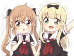2girls arm_up black_bow black_serafuku blonde_hair blush blush_stickers bow brown_eyes brown_hair eyebrows_visible_through_hair green_eyes heterochromia holding_hands kantai_collection long_hair looking_at_viewer multiple_girls murasame_(kantai_collection) open_mouth red_eyes ren_kun school_uniform serafuku short_sleeves simple_background smile straight_hair twintails two_side_up white_background younger yuudachi_(kantai_collection)