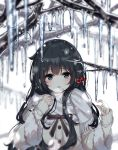1girl :o bangs black_hair black_ribbon blue_eyes blush breath buttons cherry coat commentary eyebrows_visible_through_hair food fringe_trim fruit hands_up highres icicle inhoya2000 long_hair long_sleeves looking_at_viewer open_mouth original ribbon scarf simple_background symbol_commentary tree_branch upper_body white_background white_scarf winter_clothes winter_coat