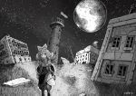 1girl absurdres animal_ears backpack bag cat_ears eyebrows_visible_through_hair goggles goggles_on_head greyscale highres long_hair looking_at_viewer monochrome moon night original outdoors power_lines scenery sky sleeping_bag solo star_(sky) starry_sky usio_ueda walking