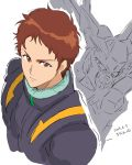 1boy brown_eyes brown_hair dated from_above gundam_hathaway's_flash hathaway_noa highres looking_to_the_side mecha sketch spacesuit white_background xi_gundam yanada_kiyorin