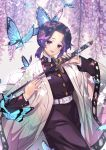 2019 artist_name belt black_hair blush breasts bug butterfly butterfly_hair_ornament eyebrows_visible_through_hair hair_ornament highres holding holding_sword holding_weapon insect kimetsu_no_yaiba kochou_shinobu large_breasts long_sleeves looking_at_viewer multicolored_hair open_mouth purple_hair purple_nails short_hair smile sword two-tone_hair upper_teeth violet_eyes weapon white_belt yume_ou