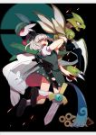 +_+ 1girl black_background black_footwear black_hairband black_ribbon damenaito full_body gallade gen_1_pokemon gen_4_pokemon gen_6_pokemon green_skirt green_vest hair_ribbon hairband highres holding holding_sword holding_weapon honedge jumping katana looking_at_viewer open_mouth poke_ball poke_ball_symbol pokemon pokemon_(creature) ribbon scyther shirt short_hair short_sleeves silver_hair skirt socks sword tassel touhou vest violet_eyes weapon white_legwear white_shirt