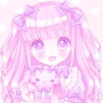 1girl :d bangs blush bow bunny-shaped_pupils commentary_request dress eyebrows_visible_through_hair hair_bow heart heart_background himetsuki_luna holding holding_stuffed_animal open_mouth original pink_background pink_hair puffy_short_sleeves puffy_sleeves purple_bow purple_dress short_sleeves smile solo stuffed_animal stuffed_bunny stuffed_toy symbol-shaped_pupils two_side_up upper_body violet_eyes