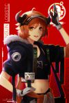 1girl absurdres ahoge arknights arm_up black_gloves blush brown_hair croissant_(arknights) crop_top fang gloves gumihiko hand_on_hip highres id_card looking_at_viewer multicolored multicolored_clothes multicolored_gloves navel open_mouth red_background short_hair smile solo upper_teeth white_gloves yellow_eyes