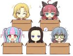 +++ 5girls :d ahoge bang_dream! bangs black-framed_eyewear black_hair black_shirt black_vest blonde_hair blue_eyes blue_hair blunt_bangs blush_stickers box cardboard_box cat_ear_headphones chu2_(bang_dream!) collarbone collared_shirt commentary_request eyebrows_visible_through_hair forehead glasses green_eyes grin hair_between_eyes hair_bobbles hair_ornament hair_over_shoulder hair_scrunchie headphones heart highres in_box in_container jacket layer_(bang_dream!) lock_(bang_dream!) long_hair long_sleeves looking_at_viewer masking_(bang_dream!) multicolored_hair multiple_girls musical_note navy_blue_jacket necktie one_eye_closed open_mouth pareo_(bang_dream!) parted_hair pink_eyes pink_hair print_scrunchie purple_shirt raise_a_suilen red_jacket red_neckwear red_scrunchie redhead scrunchie shirt short_hair sidelocks simple_background smile spoken_musical_note striped striped_neckwear sweatdrop tearing_up tears teen_(teen629) track_jacket trembling twintails two-tone_hair upper_body vest wavy_mouth white_background white_cardigan white_shirt yellow_eyes