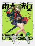 1girl absurdres bag bangs belt belt_buckle black_shirt black_skirt blue_eyes buckle character_request chinese_text chyoel copyright_name eyebrows_visible_through_hair full_body green_background green_hair green_jacket hair_ribbon highres holding holding_microphone holding_umbrella jacket long_sleeves medium_hair microphone navel one_side_up open_mouth rainybluebell red_ribbon ribbon shirt shoelaces shoes simple_background skirt smile sneakers socks solo stomach teeth umbrella white_footwear white_legwear