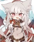 1girl animal_ear_fluff animal_ears breasts brown_gloves brown_nails byako_(srktn) cape chibi commission cowboy_shot eyebrows_visible_through_hair facial_tattoo fangs fingerless_gloves fingernails fur-trimmed_gloves fur_trim gloves hand_on_own_chest highres hood hood_up hooded_cape keyhole kureha_(666)_(sound_voltex) kureha_(sound_voltex) long_fingernails long_hair looking_at_viewer medium_breasts midriff nail_polish navel open_mouth red_cape red_eyes red_hood revealing_clothes sidelocks silver_hair simple_background skin_fangs solo sound_voltex standing sword tattoo under_boob v-shaped_eyebrows very_long_hair weapon white_background wolf_ears
