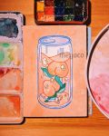 artist_name bubble can food fruit highres leaf liquid meyoco no_humans original peach photo pink_background simple_background traditional_media transparent watercolor_(medium)