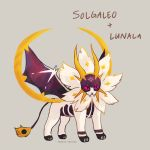 character_name commentary creature english_commentary fangs full_body fusion gen_7_pokemon grey_background lunala no_humans pokemon pokemon_(creature) signature simple_background solgaleo solo spaded-square violet_eyes