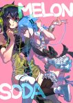 2boys arm_up armband armpit_crease bare_shoulders black_bow black_hair black_legwear blue_footwear blue_hair bow braid commentary english_text fingernails frills green_eyes hair_between_eyes headphones holding keine_ron long_fingernails long_hair male_focus matsudappoiyo medium_hair multicolored multicolored_hair multiple_boys parted_lips pink_background rabbit_monster red_eyes simple_background thigh-highs utau white_hair white_legwear yellow_nails
