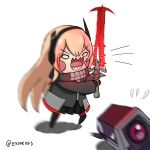 1girl black_jacket black_skirt blonde_hair blush_stickers chibi crucible_(doom) dinergate_(girls_frontline) doom_(game) energy_sword english_commentary exonessis girls_frontline headgear highres holding holding_sword holding_weapon jacket long_hair long_sleeves m4_sopmod_ii_jr multicolored_hair open_mouth pleated_skirt redhead scarf sharp_teeth simple_background skirt streaked_hair sword teeth weapon white_background wide_oval_eyes