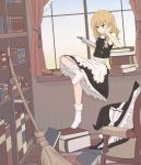 1girl apron black_skirt black_vest blonde_hair book book_stack bookshelf braid broom chair crossed_legs curtains dutch_angle elbow_rest frown hat hat_removed head_in_hand headwear_removed highres indoors kirisame_marisa long_hair midori_08 mini-hakkero no_shoes open_book petticoat puffy_short_sleeves puffy_sleeves reading rug scroll shirt short_sleeves single_braid sitting skirt socks solo touhou vest waist_apron white_legwear white_shirt window windowsill witch_hat wooden_floor yellow_eyes