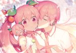 1boy 2girls :t blurry blurry_background blush_stickers cheek_kiss cherry_blossoms cherry_hair_ornament commentary dango detached_sleeves eating food food_themed_hair_ornament full_mouth hachune_miku hair_ornament hand_on_shoulder hatsune_miku hatsune_mikuo headphones headset holding holding_food kiss leaf leaf_hair_ornament long_hair multiple_girls nail_polish necktie open_mouth pink_eyes pink_hair pink_nails pink_neckwear pink_sleeves sakura_miku sakura_mikuo shirt short_sleeves sinaooo sleeveless sleeveless_shirt solid_circle_eyes twintails upper_body very_long_hair vocaloid wagashi white_shirt