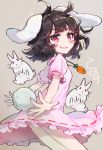 1girl :3 :x ahoge animal_ears bangs black_hair blush_stickers breasts bunny_tail carrot_necklace commentary_request cowboy_shot dated dress eyebrows_visible_through_hair grey_background grin highres inaba_tewi looking_at_viewer pink_dress puffy_short_sleeves puffy_sleeves rabbit rabbit_ears red_eyes short_hair short_sleeves simple_background small_breasts smile solo syuri22 tail thighs touhou v-shaped_eyebrows