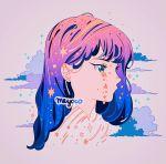 1girl aqua_eyes artist_name bangs blue_hair clouds crying ear_piercing gradient_hair grey_background head meyoco multicolored_hair no_nose original piercing pink_hair profile purple_hair simple_background solo