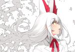 1girl animal_ears bangs dated eyebrows_visible_through_hair eyes_visible_through_hair fox_ears from_side happa_(cloverppd) kemono_friends lips long_hair neck_ribbon oinari-sama_(kemono_friends) open_mouth profile red_neckwear ribbon signature simple_background solo upper_body white_background white_hair yellow_eyes