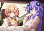 2girls blush braid breasts compa eyebrows_visible_through_hair food hair_between_eyes hair_ornament highres looking_at_viewer multiple_girls neptune_(series) novus_rue open_mouth pink_hair power_symbol pudding purple_hair purple_heart smile symbol-shaped_pupils turtleneck twin_braids younger