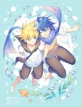 2boys arms_behind_back barefoot black_collar black_neckwear black_shorts blonde_hair blue_eyes blue_hair blue_nails blue_scarf brown_vest bubble closed_eyes collar commentary fish from_above full_body furrowed_eyebrows kagamine_len kaito male_focus manta_ray multiple_boys nail_polish necktie outstretched_arm pants plant sailor_collar scarf school_uniform shirt shorts sinaooo smile spiky_hair starfish starfish_hair_ornament sweater_vest twitter_username vest vocaloid white_shirt yaoi