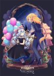 animal_on_head balloon bench black_dress black_footwear blue_eyes bow copyright_name dress earrings formal gloves high_heels jewelry long_hair nekoichi on_head pixiv_fantasia pixiv_fantasia_age_of_starlight pointy_ears red_bow rope silver_hair sitting suit twintails white_gloves
