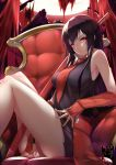 1girl akame akame_ga_kill! arm_guards artist_name bangs bare_legs bare_shoulders between_legs black_dress black_hair breasts commentary dress english_commentary feet_out_of_frame full_moon gainoob hand_between_legs knees_up long_hair looking_at_viewer medium_breasts moon necktie parted_lips red_eyes red_neckwear serious sheath sheathed sitting solo straight_hair sword thighs throne v-shaped_eyebrows very_long_hair waist_bow weapon