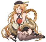 1girl :d alternate_costume animal_ears arknights arm_support bangs bare_shoulders bell beret black_footwear black_headwear black_jacket brown_hair chinese_clothes commentary_request dress eyebrows_visible_through_hair fan folding_fan fur-trimmed_jacket fur_trim green_eyes grey_legwear hair_bell hair_ornament halterneck hat heart high_heels highres jacket jingle_bell long_hair looking_at_viewer multicolored_hair nemo_(leafnight) off_shoulder open_mouth red_dress redhead short_dress simple_background sitting smile solo streaked_hair swire_(arknights) tail tail_ring thigh-highs thighs tiger_ears tiger_tail very_long_hair white_background yokozuwari