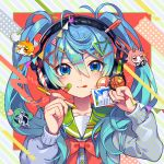 1girl :p blue_eyes blue_hair blush bow cardigan closed_mouth collarbone commentary_request diagonal_stripes fingernails green_sailor_collar grey_cardigan hair_ornament hairclip hands_up hatsune_miku headphones highres holding holding_pencil long_sleeves nou paperclip pencil red_bow sailor_collar school_uniform serafuku shirt smile solo striped striped_background tongue tongue_out twintails upper_body vocaloid white_shirt