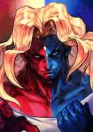 1boy blonde_hair blue_theme closed_mouth collarbone gill grey_eyes hankuri long_hair looking_at_viewer male_focus muscle red_theme sanpaku street_fighter street_fighter_iii_(series) two-tone_skin upper_body veins