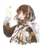 1girl arknights backpack bag beak_mask black_coat brown_hair ciloranko coat commentary gloves long_sleeves magallan_(arknights) mask_around_neck multicolored_hair open_mouth orange_eyes rhine_lab_logo short_hair simple_background smile solo star strap streaked_hair symbol_commentary test_tube two-tone_hair upper_body white_background white_gloves white_hair