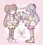 2girls alternate_color alternate_hair_color black_legwear blue_eyes bone character_name commentary creature double_bun dual_persona eye_contact frown gen_7_pokemon highres holding holding_dog holding_pokemon long_hair looking_at_another mei_(pokemon) momoppi multiple_girls pantyhose pokemon pokemon_(creature) rockruff shiny_pokemon shoelaces shoes sneakers star symbol_commentary twintails yellow_eyes