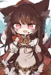 1girl animal_ear_fluff animal_ears breasts brown_gloves brown_hair brown_nails byako_(srktn) cape chibi commission cowboy_shot eyebrows_visible_through_hair facial_tattoo fangs fingerless_gloves fingernails fur-trimmed_gloves fur_trim gloves hand_on_own_chest highres hood hood_up hooded_cape keyhole kureha_(666)_(sound_voltex) kureha_(sound_voltex) long_fingernails long_hair looking_at_viewer medium_breasts midriff nail_polish navel open_mouth red_cape red_eyes red_hood revealing_clothes sidelocks simple_background skin_fangs solo sound_voltex standing sword tattoo under_boob v-shaped_eyebrows very_long_hair weapon white_background wolf_ears