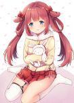 1girl animal_ears azur_lane bangs beige_coat blue_eyes blush bow brown_hair coat commentary_request doll_hug eyebrows_visible_through_hair flat_chest full_body fur-trimmed_coat fur-trimmed_hood fur-trimmed_sleeves fur_trim hair_bow hair_rings heart heart_background holding holding_stuffed_animal hood kiyonami_(azur_lane) kneehighs lightning_bolt long_hair long_sleeves looking_at_viewer mechiko_(mmttkknn) no_shoes parted_lips pink_ribbon pleated_skirt rabbit_ears red_bow red_skirt ribbon sidelocks single_garter_strap single_kneehigh single_thighhigh sitting skirt solo_focus stuffed_animal stuffed_bunny stuffed_toy thigh-highs twintails wariza white_background white_legwear