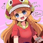 1girl :d blue_eyes breasts eyebrows_visible_through_hair hat heart herunia_kokuoji long_hair mona_(warioware) open_mouth orange_hair polo_shirt purple_background red_shirt shirt smile translation_request twitter_username warioware