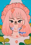 1girl artist_name bangs bee black_eyes blue_background bug flower hat honey insect insect_on_nose leaf looking_at_viewer medium_hair meyoco original pink_flower pink_hair pink_headwear plant shirt solo sparkle upper_body white_flower white_shirt