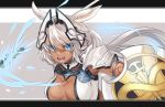 1girl animal_ears armlet bangs blue_eyes body_markings breasts caenis_(fate) dark_skin fate/grand_order fate_(series) headpiece highres large_breasts long_hair looking_at_viewer mikanmochi open_mouth pauldrons polearm ponytail shield solo spear tattoo weapon white_bikini_top white_hair