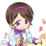 1girl avatar_icon beamed_eighth_notes beamed_sixteenth_notes brown_hair chamaji collared_shirt commentary eighth_note eyebrows_visible_through_hair hairband long_sleeves looking_at_viewer lowres musical_note plectrum purple_hairband shirt short_hair signature sixteenth_note smile solo staff_(music) striped_headband touhou tsukumo_yatsuhashi upper_body white_background