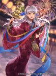 1girl :d aerial_fireworks animal animal_print bangs bell bird bridal_gauntlets bug butterfly butterfly_print copyright_name festival fire_emblem fire_emblem:_radiant_dawn fire_emblem_cipher fire_emblem_heroes fireworks full_body holding insect japanese_clothes jingle_bell kagura_suzu kimono lantern long_hair looking_at_viewer mayo_(becky2006) micaiah_(fire_emblem) night night_sky obi official_art open_mouth paper_lantern sash silver_hair sky smile solo standing summer_festival teeth wide_sleeves yellow_eyes yukata yune_(fire_emblem)