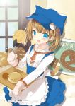 1girl :d animal_ears animal_hat apron bakery bangs blue_eyes blue_headwear blue_skirt blush bread brown_hair brown_neckwear cat_ears cat_girl cat_tail clamps collared_shirt dress_shirt eyebrows_visible_through_hair fake_animal_ears fang flat_cap food frilled_apron frills hat high-waist_skirt highres holding kamiyoshi_rika long_sleeves looking_at_viewer open_mouth original oven_mitts pretzel shirt shop sigh skirt smile solo suspender_skirt suspenders tail twintails waist_apron waitress white_apron white_shirt window