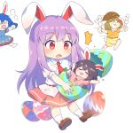 >_< /\/\/\ 4girls :3 :d :t =3 =_= animal_ears bangs barefoot black_hair blue_hair blue_shirt blue_skirt blush brown_footwear brown_hair brown_headwear caramell0501 carrot_necklace chibi closed_eyes commentary dango easter easter_egg egg eyebrows_visible_through_hair flat_cap food hat highres holding holding_food inaba_tewi loafers long_hair miniskirt multiple_girls open_mouth orange_shirt outstretched_arms pink_skirt puffy_short_sleeves puffy_sleeves purple_hair rabbit_ears red_eyes reisen_udongein_inaba ringo_(touhou) seiran_(touhou) shirt shoes short_hair short_sleeves shorts simple_background skirt skirt_set smile socks touhou very_long_hair wagashi white_background white_legwear white_shirt yellow_shorts