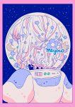 1girl artist_name astronaut astronaut_helmet bangs blue_flower border bubble crescent_moon flat_color flower from_behind leaf meyoco moon original pink_border short_hair solo upper_body white_hair