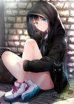1girl akasaka_asa animal bangs bare_legs black_cat black_hair black_hoodie blue_eyes blush cat closed_mouth commentary_request day full_body highres hood hood_up knees_up long_hair long_sleeves looking_at_viewer on_floor original outdoors shoes signature sitting sleeves_past_wrists smile sneakers solo stone_floor stone_wall suitcase wall white_footwear