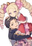1boy 1girl :d beatrice_(re:zero) black_hair black_jacket blonde_hair blue_eyes bow brown_eyes butterfly-shaped_pupils capelet carrying commentary crown dress drill_hair expressionless fur-trimmed_capelet fur_trim hair_bow hand_on_another's_head jacket long_hair looking_at_viewer mini_crown natsuki_subaru open_mouth pantyhose pink_bow re:zero_kara_hajimeru_isekai_seikatsu red_capelet red_dress shake_sawa sidelocks smile striped striped_bow striped_legwear symbol-shaped_pupils track_jacket twin_drills very_long_hair