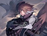 1girl arknights beret bird black_cloak brown_hair cloak closed_mouth commentary_request eyebrows_visible_through_hair falcon gloves green_gloves hat looking_to_the_side multicolored_hair orange_eyes plume_(arknights) sasa_onigiri short_hair solo two-tone_hair upper_body