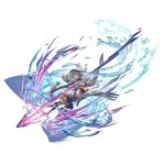 armor blonde_hair blue_eyes blue_hair bow_(weapon) brown_eyes closed_mouth crossbow elbow_gloves gloves granblue_fantasy hair_ornament hairclip hat long_hair milleore pointy_ears sahli_lao weapon