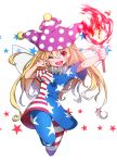 1girl ;d american_flag_dress american_flag_legwear blonde_hair blush clownpiece commentary_request dume_(kandume) fairy_wings fire full_body hat holding jester_cap long_hair looking_at_viewer neck_ruff one_eye_closed open_mouth pantyhose polka_dot purple_headwear red_eyes short_sleeves simple_background smile solo star star_print striped torch touhou v white_background wings