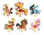 blitzle carousel commentary creature deerling deerling_(spring) english_commentary full_body gen_1_pokemon gen_2_pokemon gen_5_pokemon gen_7_pokemon girafarig mamath mudbray no_humans pink_ribbon pokemon pokemon_(creature) rapidash ribbon simple_background stantler white_background